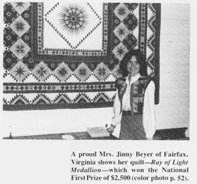 Jinny and her quilt 'Ray of Light', 1978