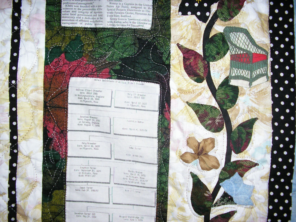 Kathy Kenny, detail, Genealogy Quilt