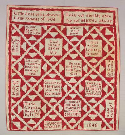 """""""Pieties Quilt"""" by Maria Cadman Hubbard. 1848. Collection of the American Folk Art Museum."""